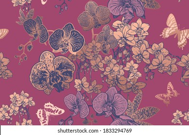 Floral seamless pattern. Exotic tropical flowers orchids and butterflies. Vector illustration. Vintage. Flower background for fabrics, paper, wallpaper, textile and other.