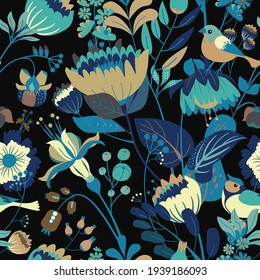 Floral seamless pattern for fabric, wallpaper or print. Floral motifs summer garden and the birds.