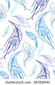 Floral seamless pattern with feather hand drawn , vector illustration