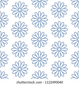 Floral seamless pattern with flat line icons of daisy chains. Flower background beautiful garden chamomile plant. Blue white color texture for kids fabric.