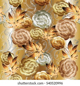 Floral seamless pattern. Flourish 3d wallpaper. Ornate flowery vector background. Surface elegant volumetric texture with 3d flowers leaves and ornaments.Texture with shadows and highlights.