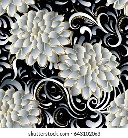 Floral seamless pattern. Flourish 3d wallpaper. Ornate floral black vector background. Surface elegant texture with hand drawn white 3d flowers leaves and ornaments. Design with shadows and highlights