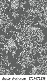 Floral seamless pattern. Flower background. Floral tile ornamental texture with flowers and leafs Spring flourish garden. gray and white background.