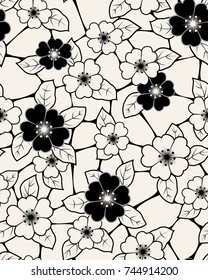 Floral seamless pattern. Flower background. Flourish sketch black and white texture with flowers daisy.