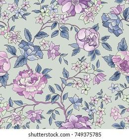 Floral seamless pattern. Flower background. Flourish garden wallpaper with flowers.