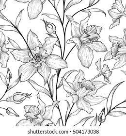 Floral seamless pattern. Flower black and white background. Floral engraving texture with flowers. Flourish sketch tiled wallpaper