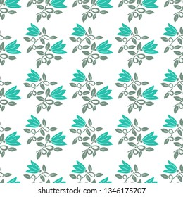 Floral seamless pattern flower with leaf. Isolated flower for card, wrapping paper and other design.