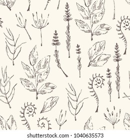 Floral seamless pattern with flower and leaves. Vector hand drawn illustration.