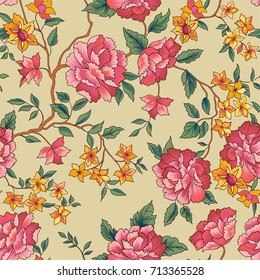 Floral seamless pattern. Flower rose background. Flourish ornamental garden