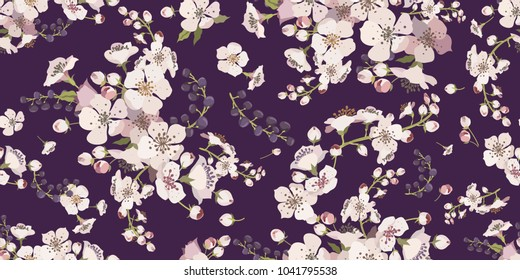 Floral seamless pattern with flowering branches. Background for textile, manufacturing, book covers, wallpapers, print or gift wrap. Spring flowers on a purple background. Vector illustration