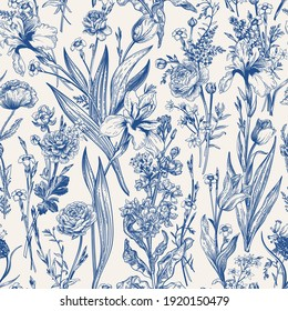 Floral seamless pattern. Flowering. Garden summer and spring flowers. Blue.
