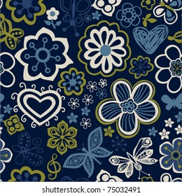 Floral seamless pattern with flowers and butterflies. Endless floral texture