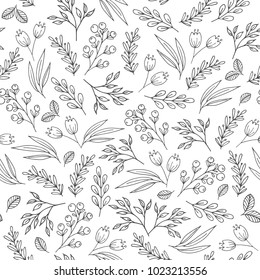 Floral seamless pattern with flowers, plants, berries. May be used as a coloring book