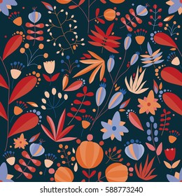 floral seamless pattern with flowers and plants in dark background. tropical vector illustration.