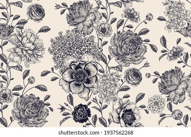 Floral seamless pattern Flowers roses, peonies, hydrangea. Handmade graphics. Black white. Victorian style. Vector illustration. Textiles, paper, wallpaper decoration. Vintage background. Flower cover