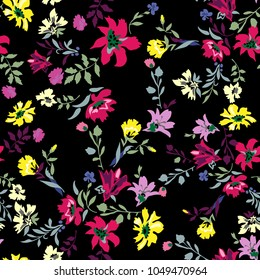 Floral seamless pattern with flowers. Vector motifs for fabric print and embroidery.