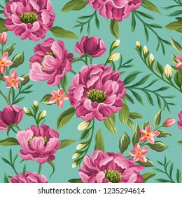 Floral seamless pattern with flowers in watercolor style