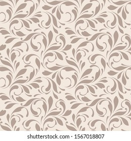 Floral seamless pattern. Flowery background for fabric, paper, wrapping and wallpapers. Beige color.
