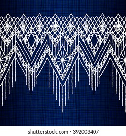 Floral seamless pattern with a fringe border knitted or woven macrame in boho style