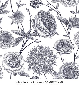 Floral seamless pattern. Garden flowers peonies, branches and leaves. Black and white vector illustration. Hand drawing. Vintage. Decorative background to create paper, wallpaper, summer textile.