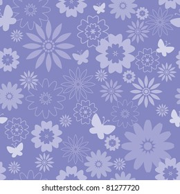 Floral seamless pattern (global color for easy editing)