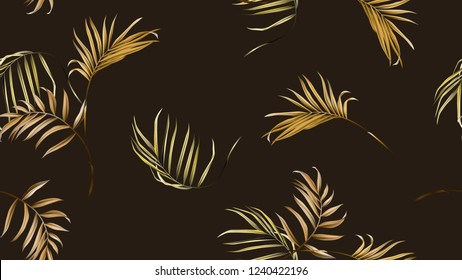 Floral seamless pattern, golden brown bamboo palm leaves on dark brown background, pastel vintage theme