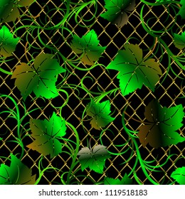 Floral seamless pattern. Grape green leaves on a golden lattice. Vintage background