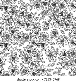 Floral Seamless Pattern Graphic Black White Stock Vector Royalty