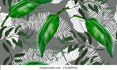 Floral seamless pattern, green, black and white split palm tree leaf with vines and tropical leaves on dark background, pastel vintage themes. Vector