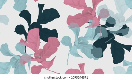 Floral seamless pattern, green, pink and blue fiddle leaf fig plant on light gray background, pastel vintage theme