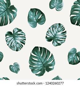 Floral seamless pattern green split-leaf monstera Philodendron plant on beige background.