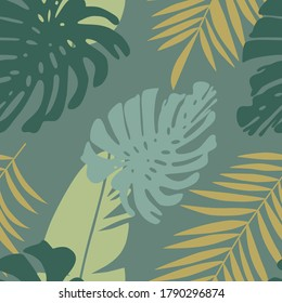 Floral seamless pattern, green and yellow split-leaf Philodendron plant with vines on green background, pastel theme