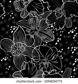Floral seamless pattern with hand drawn different orchids on a black background. Vector  monochrome illustration.