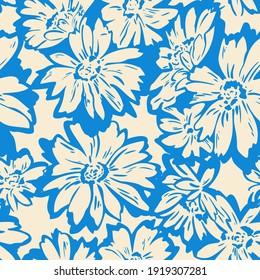 Floral seamless pattern. Hand drawn large flower buds. Flower silhouettes. Botanical background. Summer garden texture.