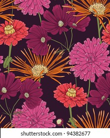 Floral seamless pattern with hand drawn flowers.