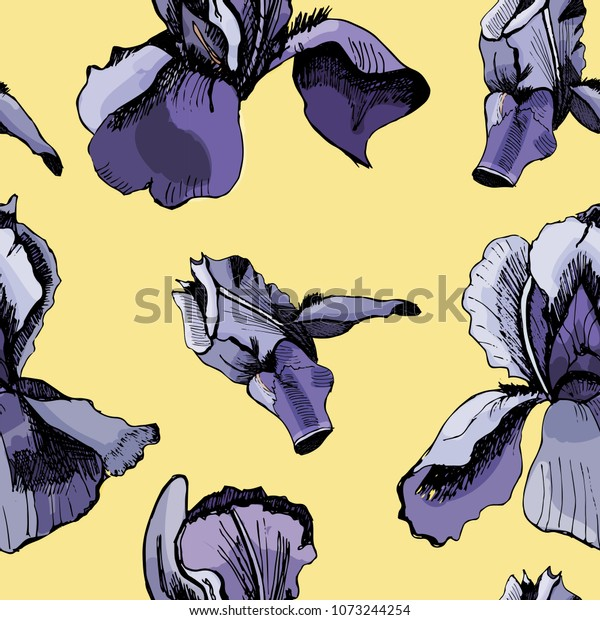 Floral seamless pattern  with hand drawn graphic  and colored sketch with iris  on yellow background. Vector illustration.