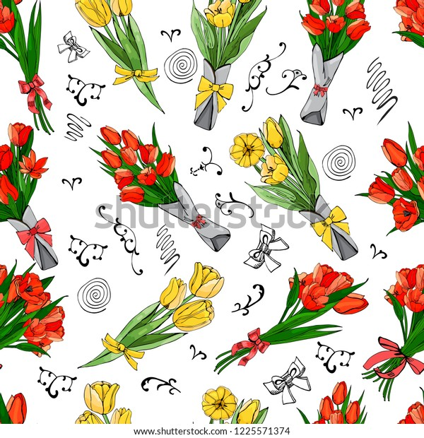 Floral seamless pattern  of  hand drawn graphic  and colored sketch tulip flowers and leaves   on white background.Vector illustration.
