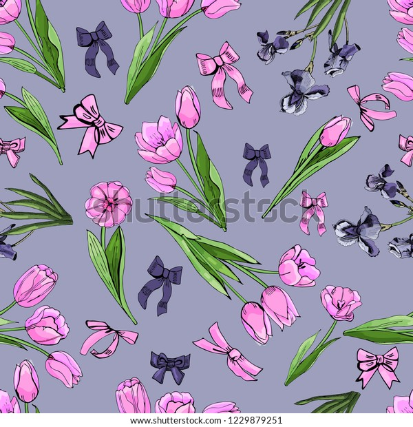Floral seamless pattern  of  hand drawn graphic  and colored sketch with tulip and iris flowers and leaves   on violet background. Vector illustration.