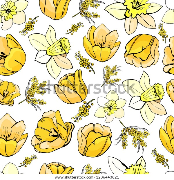 Floral seamless pattern  of  hand drawn graphic  and colored sketch with yellow tulip, mimosa and narcissus flowers  on white background. Vector illustration.