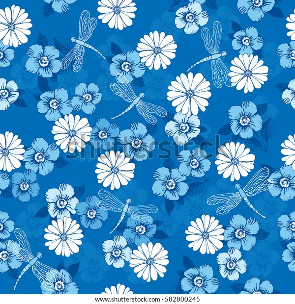 Floral seamless pattern with hand drawn spring flowers and dragonflies for textile, wallpapers, gift wrap and scrapbook. Vector illustration.