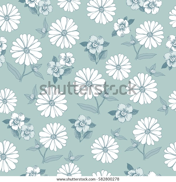 Floral seamless pattern with hand drawn spring flowers for textile, wallpapers, gift wrap and scrapbook. Vector illustration