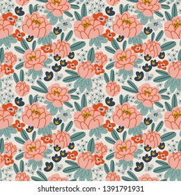 Floral seamless pattern in hand-drawn style. Beautiful flowers in pink colors. Vector repeat background with peonies.  Design for wallpaper, fabrics or wrapping paper.