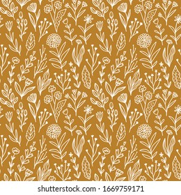 Floral seamless pattern in hand-drawn style. Meadow flowers in mustard background. Simple fabric design. vector illustration.