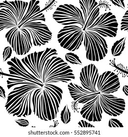 Floral seamless pattern with hibiscus flowers. Design in black colors for invitation, wedding or greeting cards. Watercolor hand drawing style on white background. Vector hibiscus floral pattern.