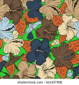 Floral seamless pattern hibiscus flowers. Hand drawn design in orange, blue and beige colors for invitation, wedding or greeting cards, textile, prints and fabric. Vector hibiscus floral pattern.