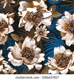 Floral Seamless pattern with image of a bronze peony and heliopsis flowers and blue fern leaves on a black background. Vector illustration.