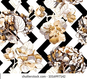 Floral Seamless pattern with image of a gold Hydrangea, Cherry flowers and leaves on a black and white geometry background. Vector illustration.
