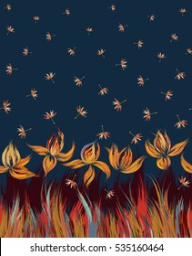 Floral seamless pattern of irises and dandelion seeds. Irises painted imitation of oil paint. Blue orange vinous flowers on a dark blue background. Cute print for bedding, clothes, dress etc
