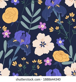 Floral seamless pattern with irises and roses on black background. Design with elegant flowers for printing and decoration. Endless botanical backdrop. Colorful flat vector illustration