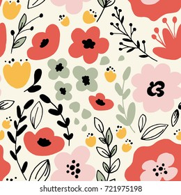 Floral seamless pattern with leaves and fantasy flowers. Vector background
